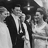 Princess Margaret greeted Mia Farrow and Laurence Harvey at the premiere of their film The Taming of the Shrew in 1967.