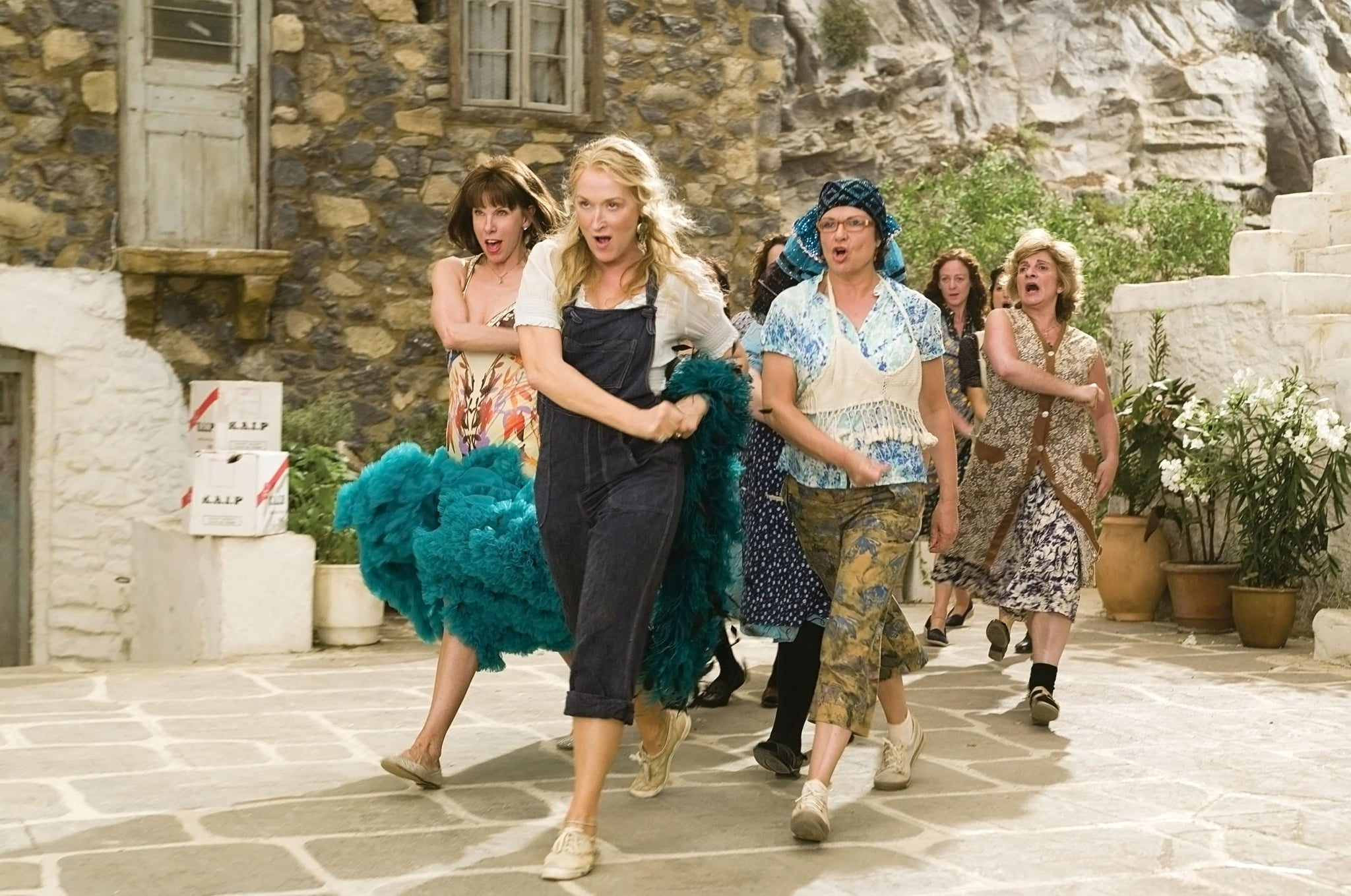 MAMMA MIA!, foreground from left: Christine Baranski, Meryl Streep, Julie Walters, 2008. Universal/courtesy Everett Collection