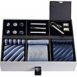 Men's Gift Tie Set (Silky Necktie Pocket Squares Tie Clips Cufflinks)