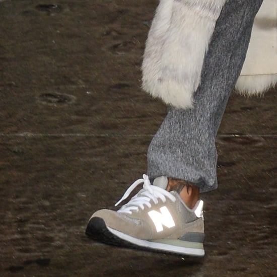 Rihanna Wearing New Balance Sneakers and Fur Coat