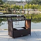 Bonnlo Outdoor Wicker Bar Cart