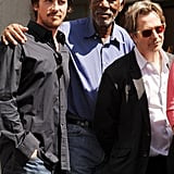 Christian Bale, Morgan Freeman, and Gary Oldman linked up for Christopher Nolan's hand and footprint ceremony in LA.