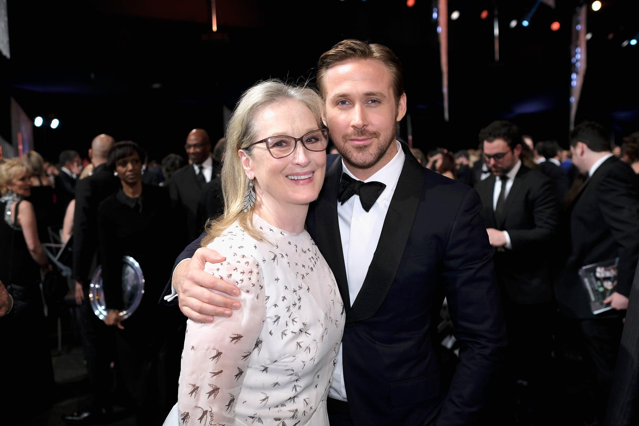 Meryl Streep helping Ryan Gosling tie his bow tie at the SAG awards 2019 is everything