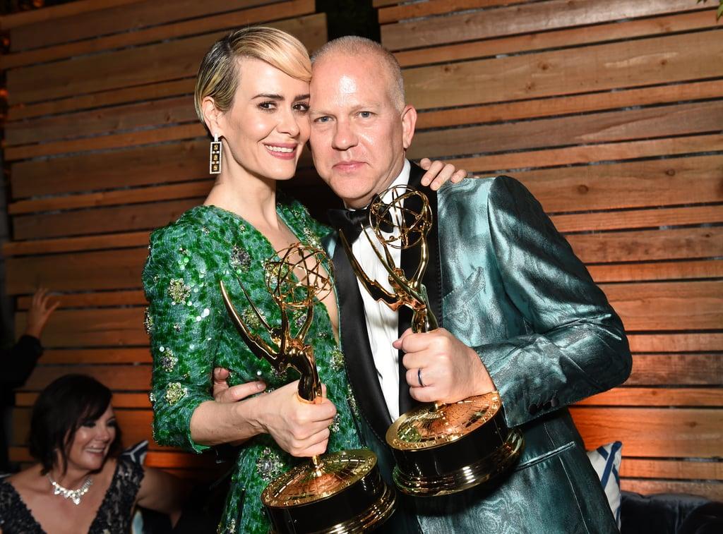 Sarah Paulson and Ryan Murphy at the 2016 Emmy Awards