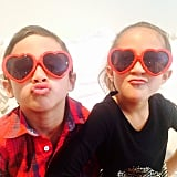 Jennifer Lopez took an incredibly cute photo of her twins, Max and Emme, wearing heart-shaped sunglasses.