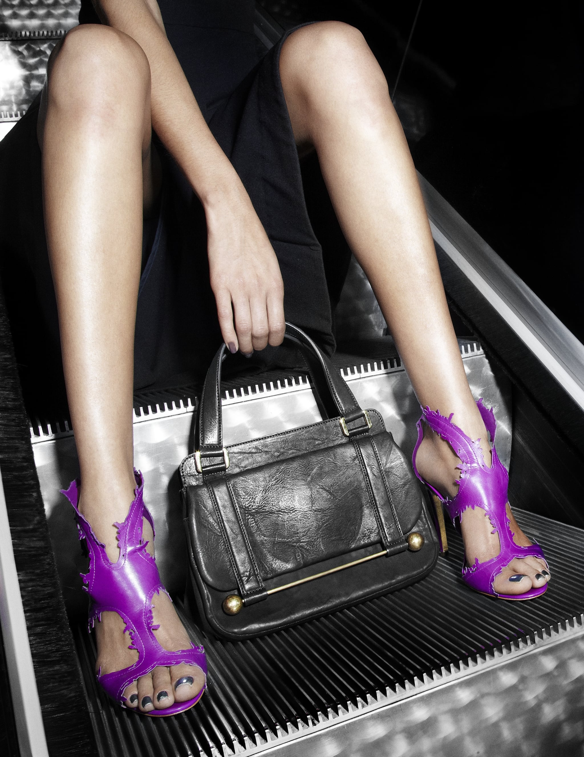 Another hot escalator shot (who knew it could be such a chic backdrop?), but this time with the purple Webii sandals and Leonora bag.  Photos courtesy of Rupert Sanderson