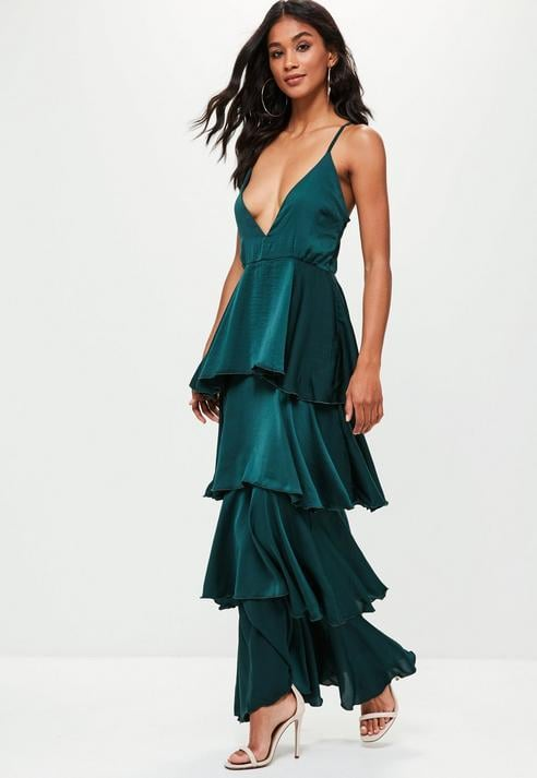 Missguided Green Strappy Layered Maxi Dress, Green