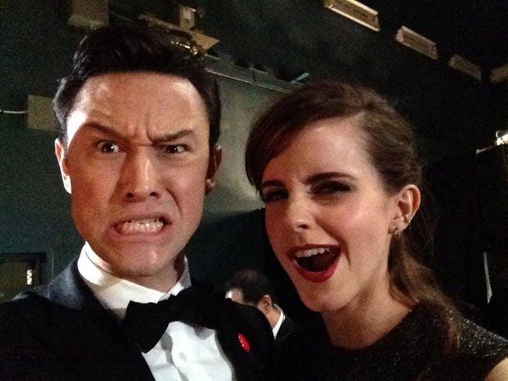 Joseph Gordon-Levitt and Emma Watson snapped a backstage selfie. Source: Facebook user Joseph Gordon-Leviit
