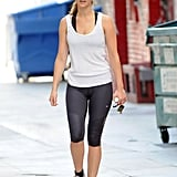Jennifer Lawrence wore a white tank and black yoga pants for her workout.