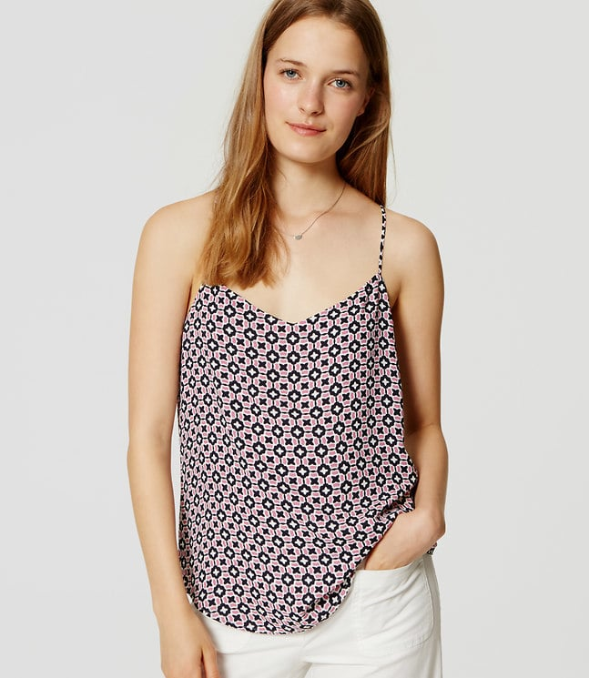 """The Tank: Loft Tiled Strappy Cami ($45) The Glowing Review: """"This top was a last minute call and I'm so happy I decided to add it to my cart. It looks exactly like the photo, fabric is very light, comfortable, and flattering."""""""