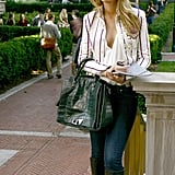 Serena van der Woodsen Wearing a White Striped Blazer