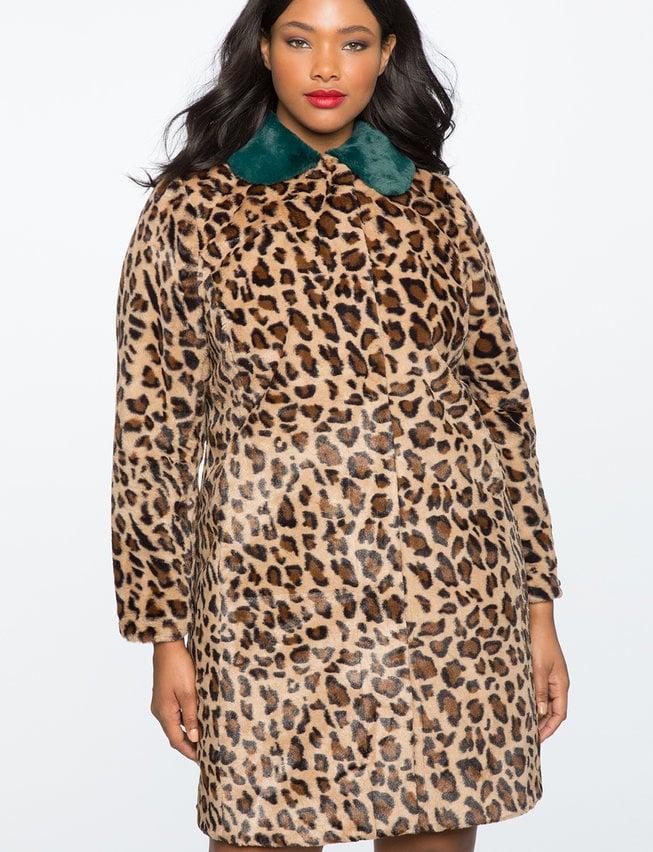 Eloquii Leopard Coat with Fur Collar