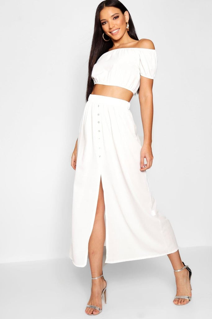 Boohoo Button Split Maxi Bardot Top Co-ord Set