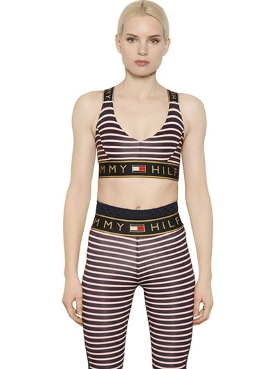 Striped Microfiber Sports Bra Top