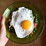 Fried Egg + Peas + Ham