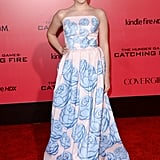 Willow Shields wore a blue gown.
