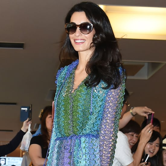 Amal Clooney Wearing a Blue Crochet Missoni Dress