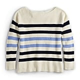 Oversized Boat Neck Sweater in Pristine with Maritime Blue Stripe