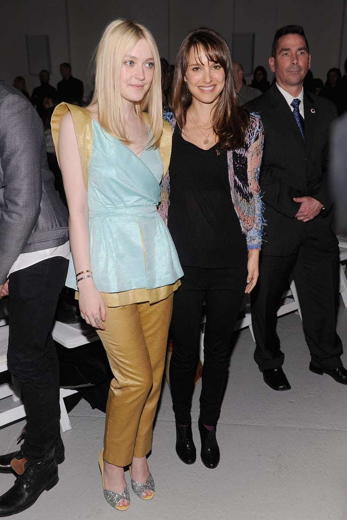 Natalie Portman and Dakota Fanning posed together before taking their front-row seats at Rodarte's NY Fashion Week presentation this afternoon. Also on hand to see Rodarte's 2012 collection were Maria Sharapova and George Lucas. Natalie's back home on the East Coast after a stint in LA, where she attended the SAG Awards and the Golden Globes. Last year, Natalie was a big award season winner for Black Swan, and she's finally lining up her first post-Oscar projects. Apparently, Natalie's involved in two Terrence Malick movies, Knight of the Cups and Lawless, which will film this Summer and Fall.