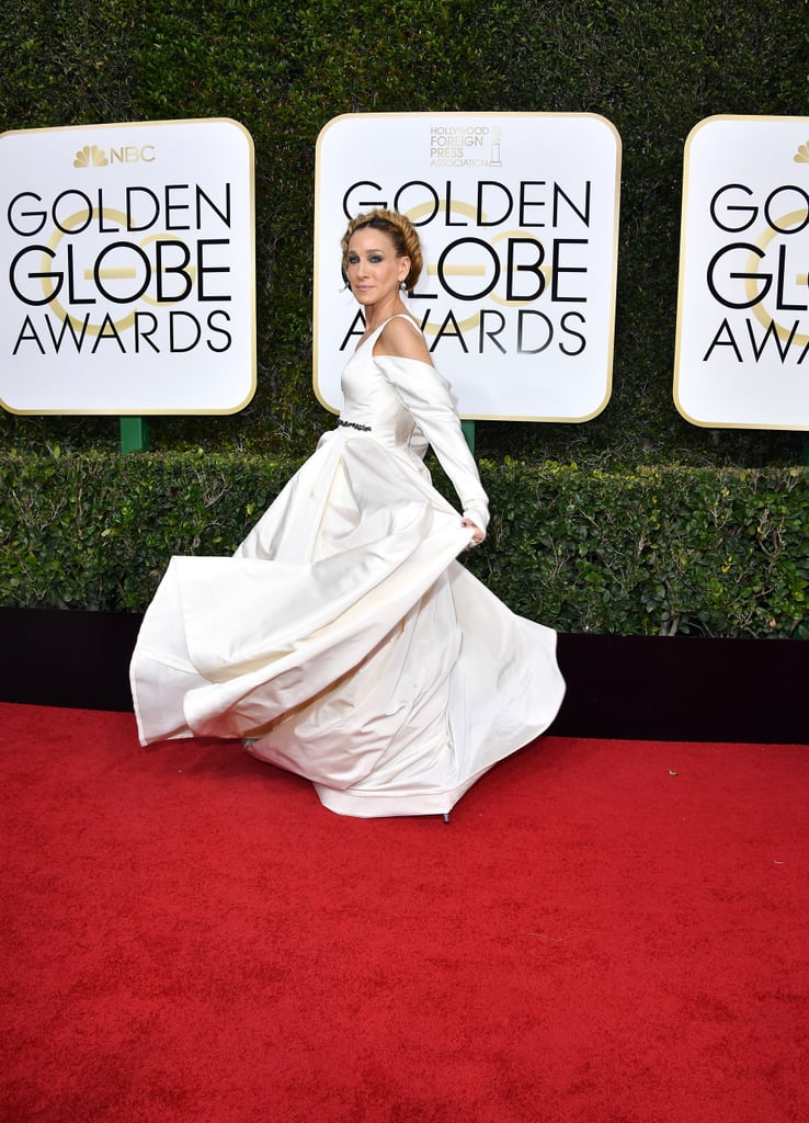 SJP gave us flashbacks in this Vera Wang wedding gown at the Globes.
