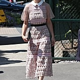 She Styled the Midi Dress With a Pair of Gray Stilettos and Oversize Sunglasses