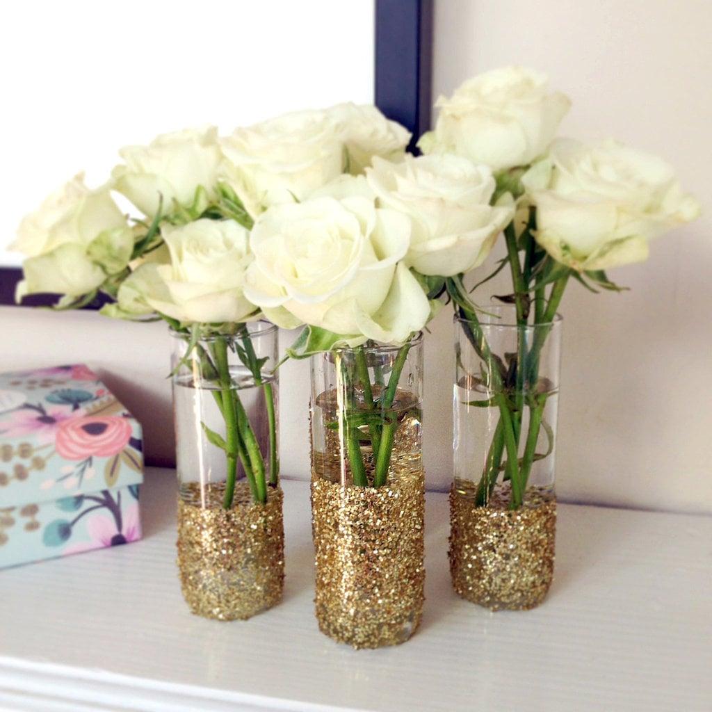 Glitter Shot Glass Vases