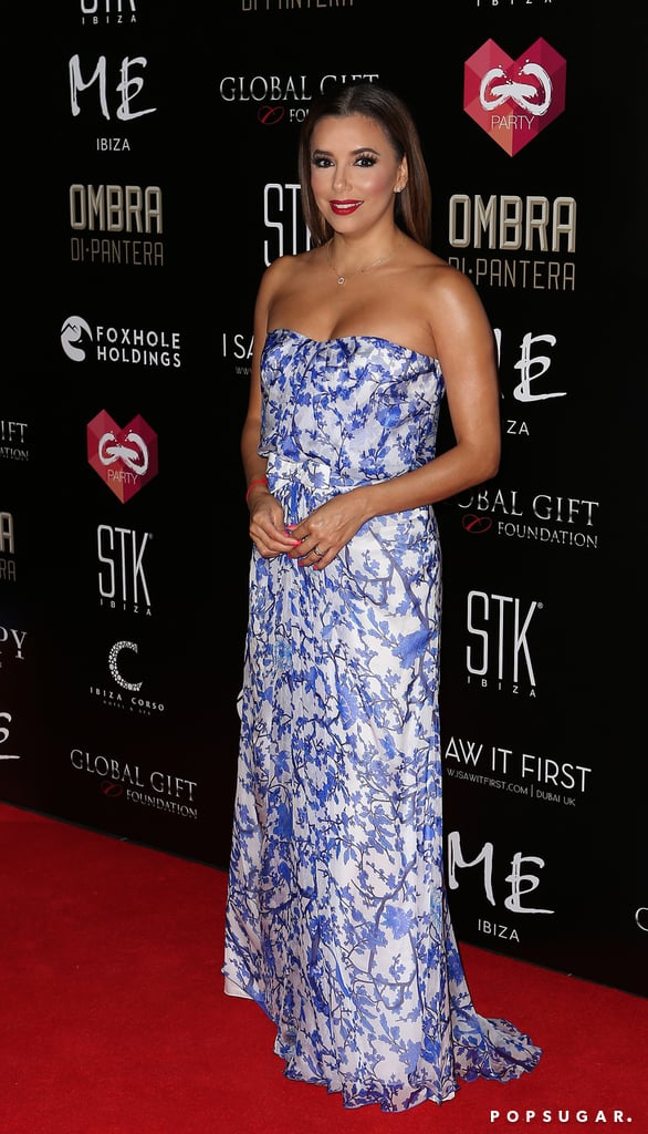 70c4fce3641f1 Get the Look | Eva Longoria's Blue and White Floral Gown July 2016 ...