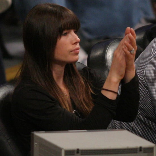 Jessica Biel Engagement Ring Pictures at Lakers Game