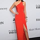 Kendall Kicked Off NYFW at the amfAR Gala in a One-Shouldered Red Romona Keveza Dress