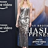Sophie Turner Wearing a Silver Chain-Mail Paco Rabanne Dress at the Chasing Happiness Premiere