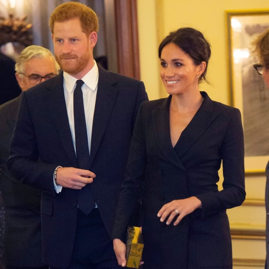 Meghan Markle Black Tuxedo Mini Dress Aug. 2018