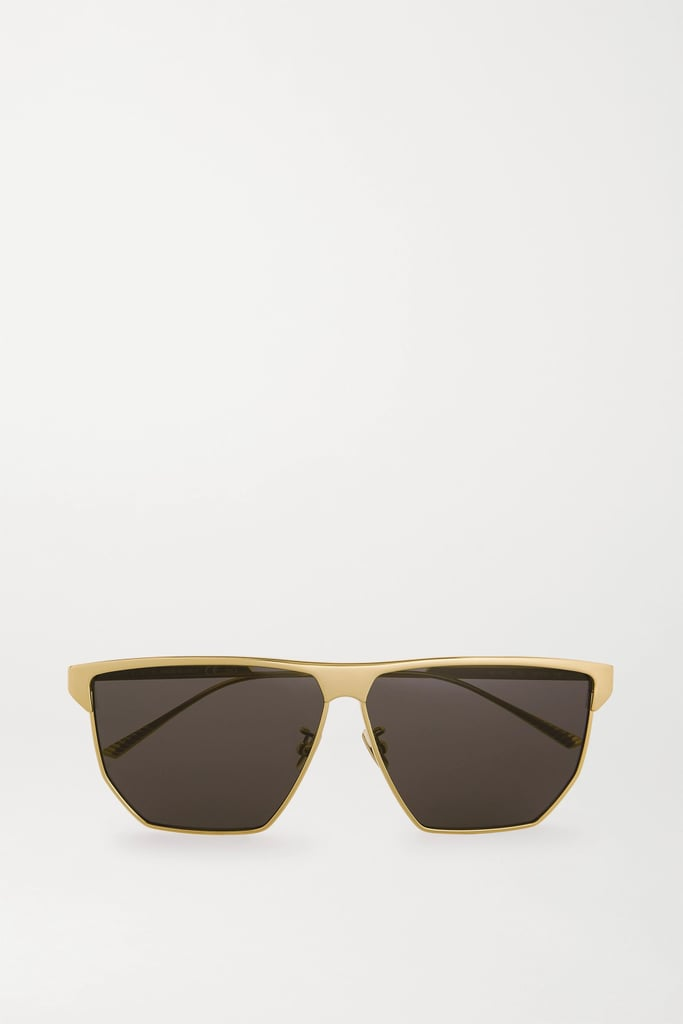 Bottega Veneta Gold D-Frame Gold-Tone Metal Sunglasses