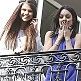 Selena donned a bohemian headband and a white Thomas Wylde dress, while Vanessa piled on the jewels.