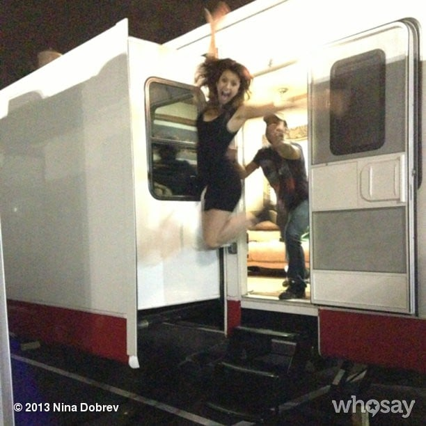 Nina Dobrev exited her trailer with flair. Source: Nina Dobrev on WhoSay