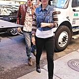 Katy Perry and John Mayer stepped onto the sidewalk in NYC.