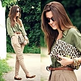 A polished weekend look comprised of bow flats, high-waist trousers, a silk blouse, and a leopard-print clutch. The oversize sunglasses are the perfect touch.  Photo courtesy of lookbook.nu