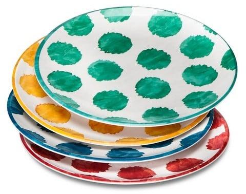 Mudhut MudhutTM Damask and Dots Melamine Dinner Plates - Set of 4 ($14.99)