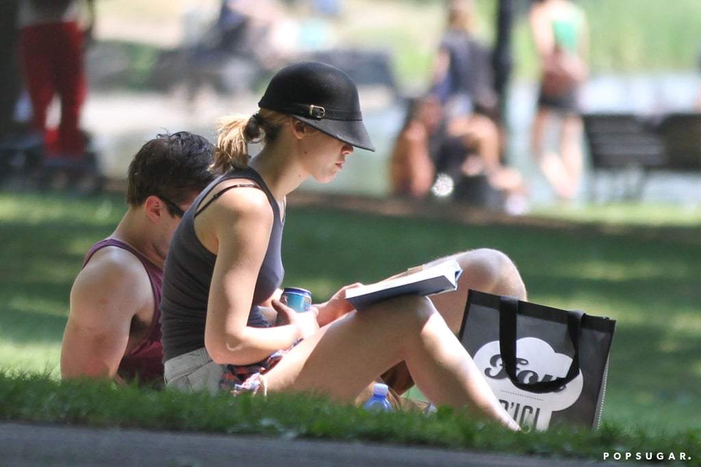 Jennifer Lawrence and Nicholas Hoult spent a little time reading in the sun.