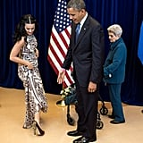 In Oct. 2012, President Obama commented on Katy Perry's standout shoes while chatting with the singer and her grandma in Las Vegas. Source: Flickr user The White House