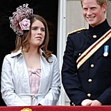 Princess Eugenie showed off a fascinator while standing with cousin Prince Harry during the queen's birthday parade in 2006.