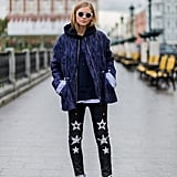With a Patterned Jacket and Statement Leather Pants