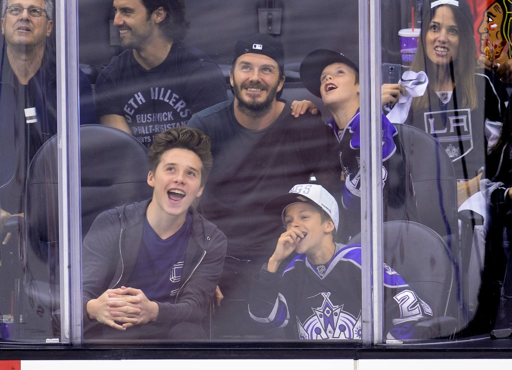 David Beckham brought his boys — Brooklyn, Romeo, and Cruz — to the LA Kings hockey game on Saturday.