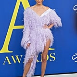 Though it may have initially reminded us of shag carpet, the purple Alexandre Vauthier number she wore to the CFDA Awards was undeniably sexy, with a slit that went up, up, and away and made her legs look miles long.
