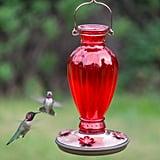 Perky-Pet Red Daisy Vase Decorative Glass Hummingbird Feeder