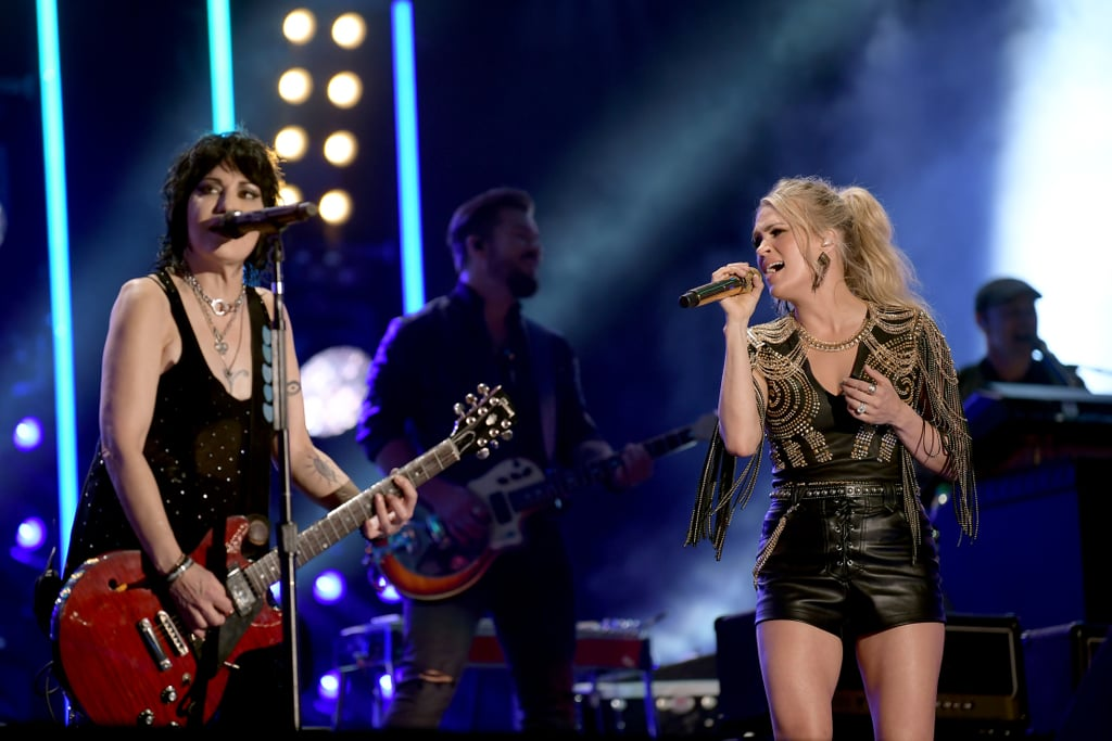 """Carrie Underwood brought the house down at Nashville's CMA Fest on June 7, and she did it again on TV. During ABC's Aug. 4 airing of the festival's performances, viewers got to rewatch the 36-year-old singer surprise fans by bringing out special guest Joan Jett of Joan Jett & the Blackhearts for a fiery rock-country set. The two sang some of Jett's best hits, including """"Bad Reputation,"""" """"I Love Rock & Roll,"""" """"Crimson and Clover,"""" """"I Hate Myself For Loving You,"""" and """"Fresh Start."""" Back in June, Underwood took to Instagram to share her excitement over working with the rock icon. """"Dreams come true at #CMAFest ! This was mine,"""" she wrote. """"Just to be in the same room as @joanjett is really cool . . . to share the stage with her is indescribable! She truly is a legend and is probably the coolest person I have ever met. I was so proud to show her how amazing our CMA Fest crowd is! What a night!"""" Ahead, watch their powerful performance and see more photos from the rockin' show!      Related:                                                                                                           12 Iconic American Idol Auditions That Still Send Shivers Down Our Spines"""