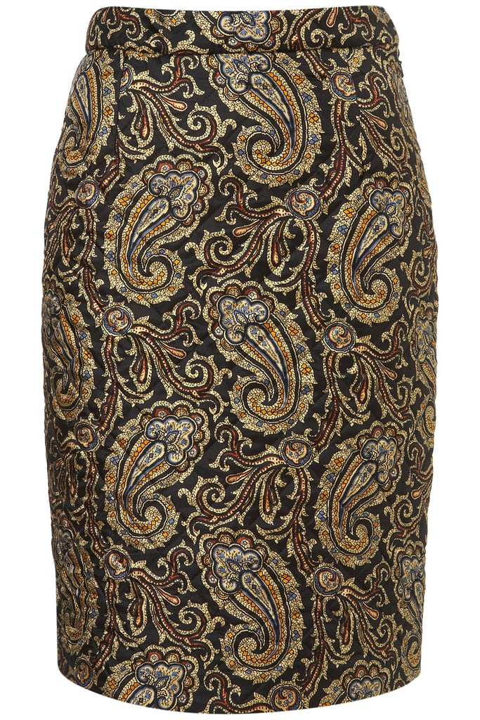 Treat yourself to a piece from the J.W. Anderson for Topshop collaboration, namely this quilted silk paisley skirt ($80), which hits upon key Winter dressing themes. It's luxe, textured, bold, and a little bit baroque, too.