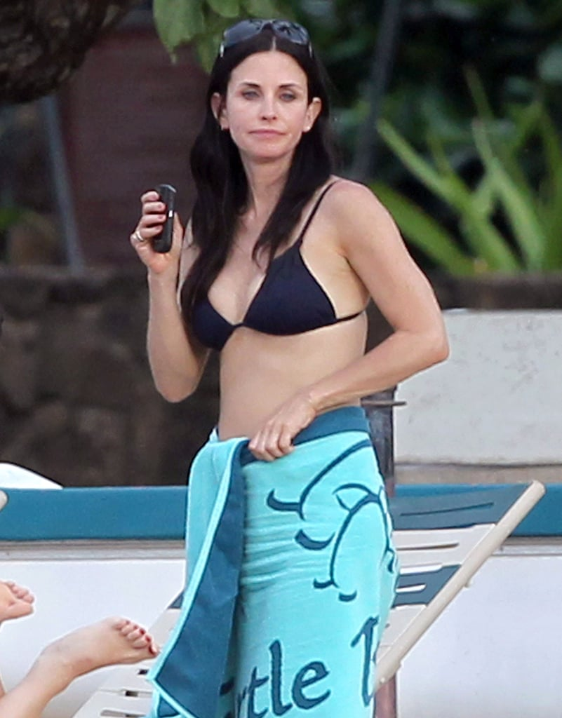 Courteney Cox Takes a Break in Her Bikini on the Cougar Town Set