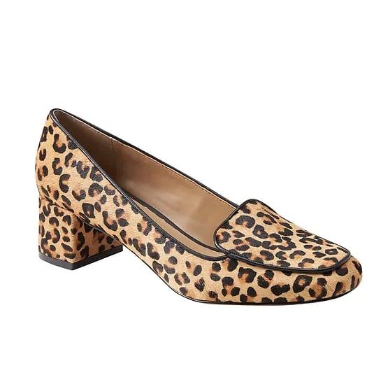 Low Block-Heel Leopard Print Loafer