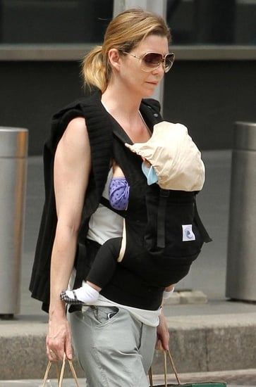 Ellen Pompeo And Daughter Stella Walking Home With Groceries