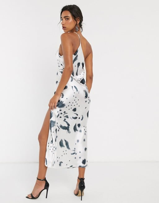 ASOS Design One Shoulder Midaxi Dress in Satin With Drape Back in Mono Print